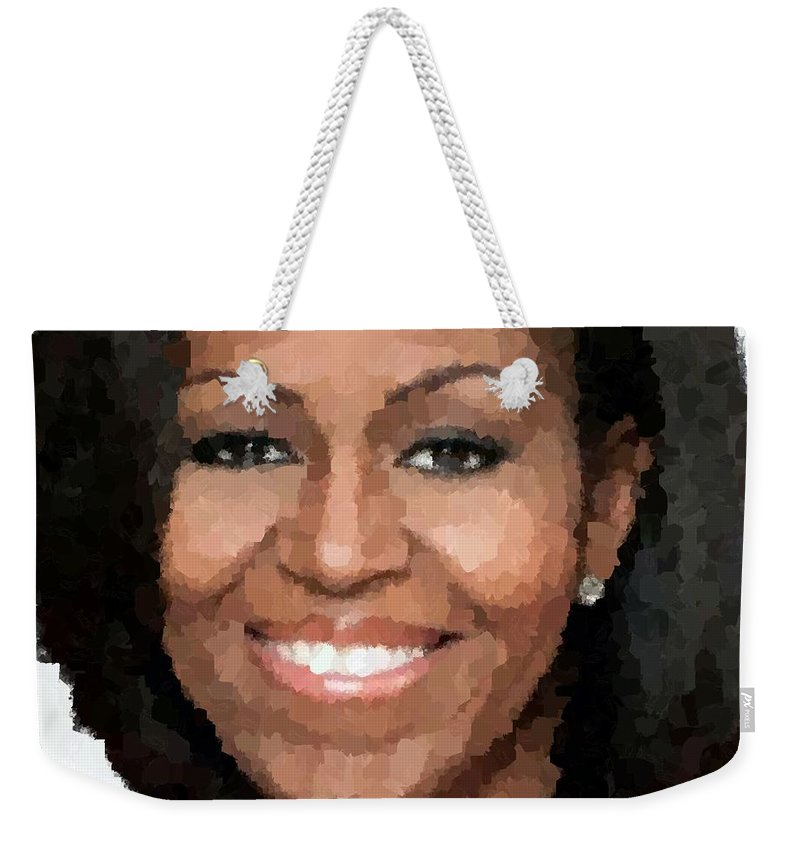 Michelle Weekender Tote Bag featuring the painting Michelle Obama by Samuel Majcen