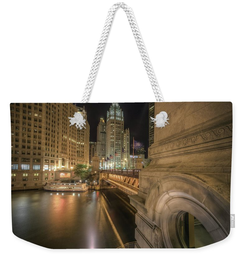 Chicago River Weekender Tote Bag featuring the photograph Michigan Ave by Delobbo.com