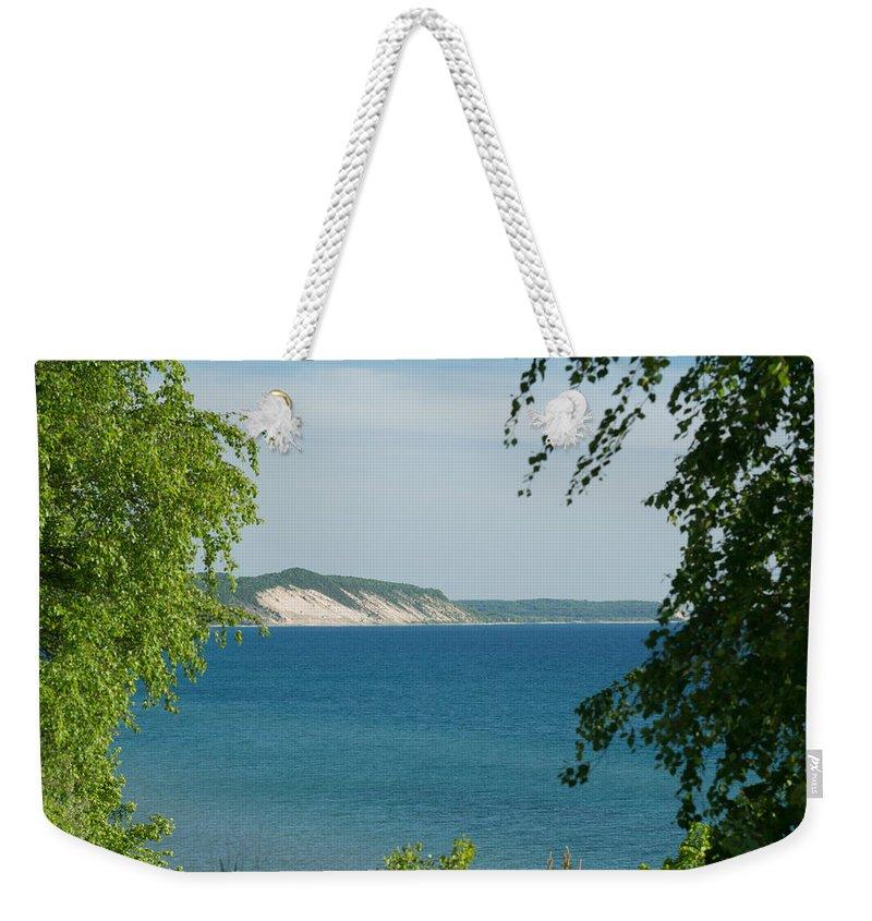 Michigan Weekender Tote Bag featuring the photograph Michigan Bluffs by Linda Kerkau