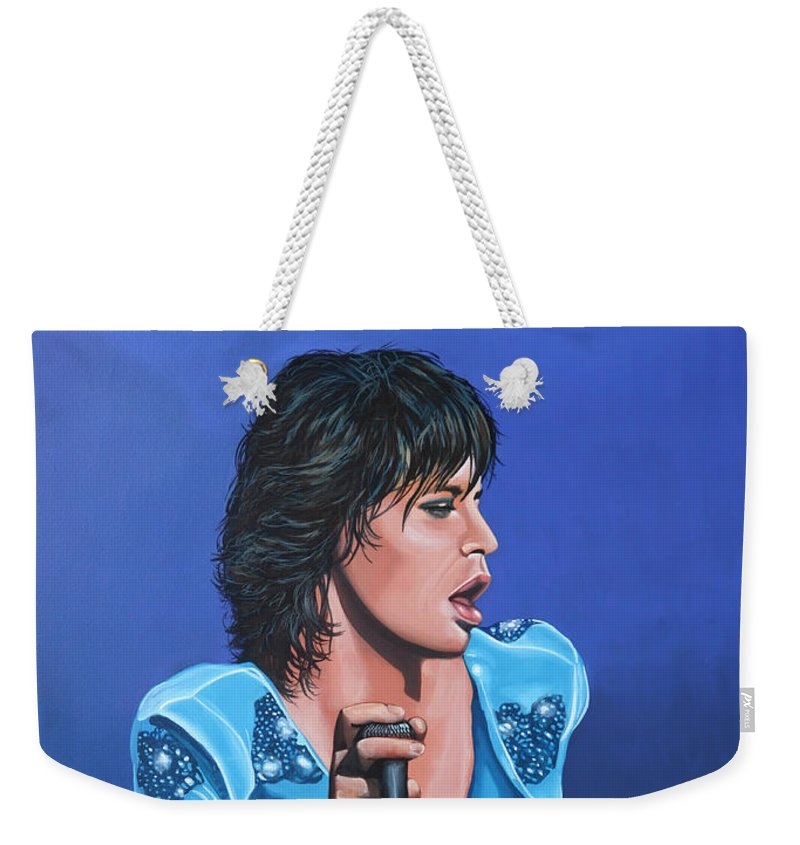 Mick Jagger Weekender Tote Bag featuring the painting Mick Jagger by Paul Meijering