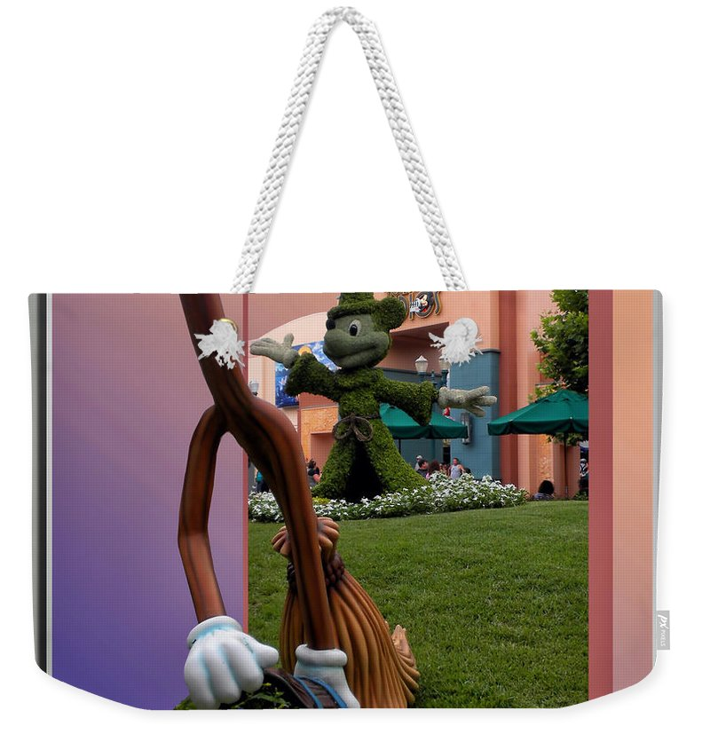 Broom Weekender Tote Bag featuring the photograph Mickey And Broom Floral Walt Disney World Hollywood Studios by Thomas Woolworth