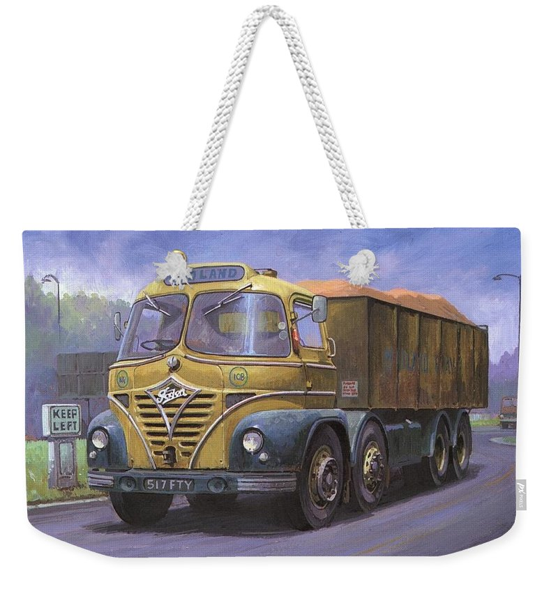 Lorry Weekender Tote Bag featuring the painting Mickey Mouse Foden. by Mike Jeffries