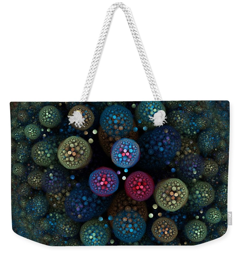 Microbial Weekender Tote Bag featuring the digital art Microbial by Brian Kenney