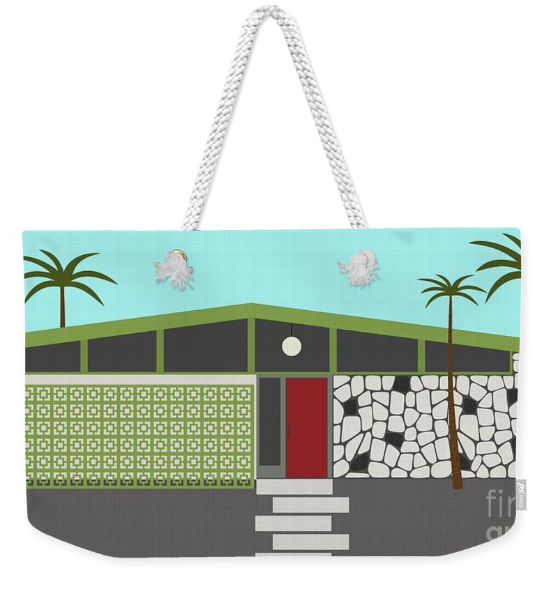 Mcm Weekender Tote Bag featuring the digital art Mid Century Modern House 4 by Donna Mibus