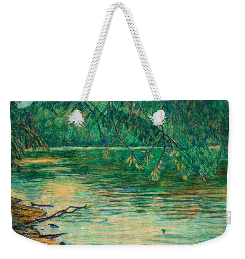 Landscape Weekender Tote Bag featuring the painting Mid-spring On The New River by Kendall Kessler
