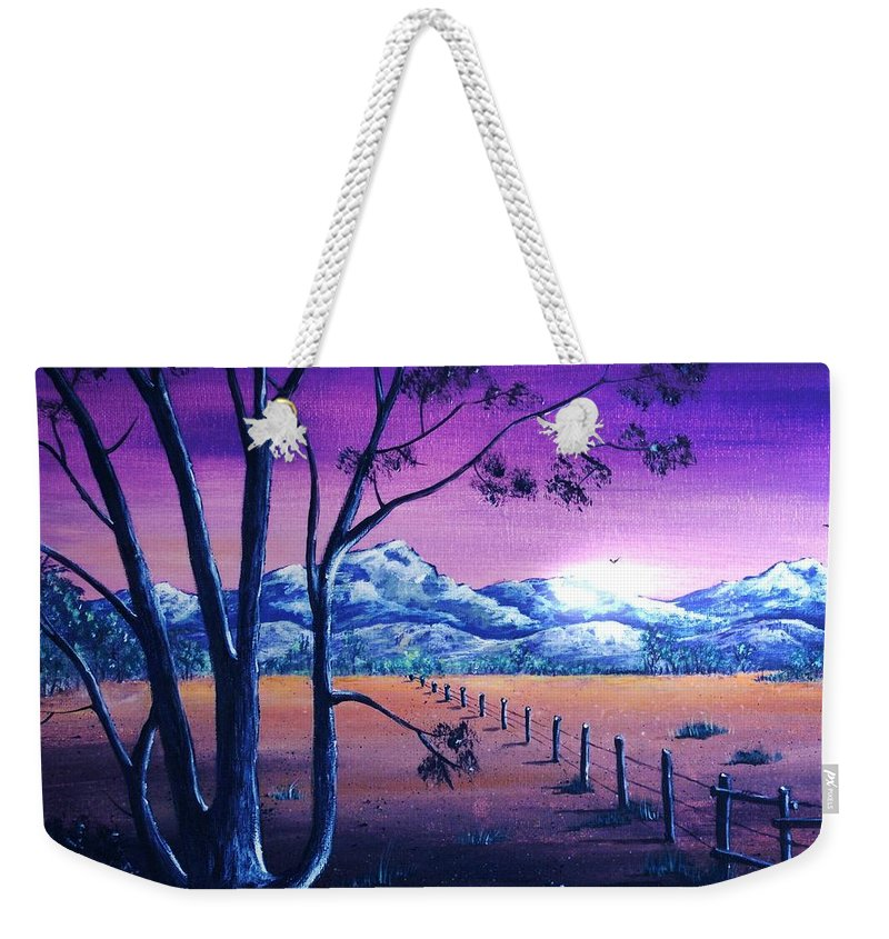 Moon Weekender Tote Bag featuring the painting Midnight At The Border by Anastasiya Malakhova