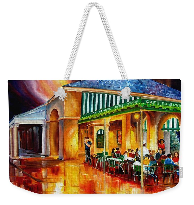 New Orleans Paintings Weekender Tote Bag featuring the painting Midnight At The Cafe Du Monde by Diane Millsap