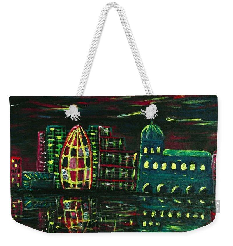 Malakhova Weekender Tote Bag featuring the painting Midnight City by Anastasiya Malakhova