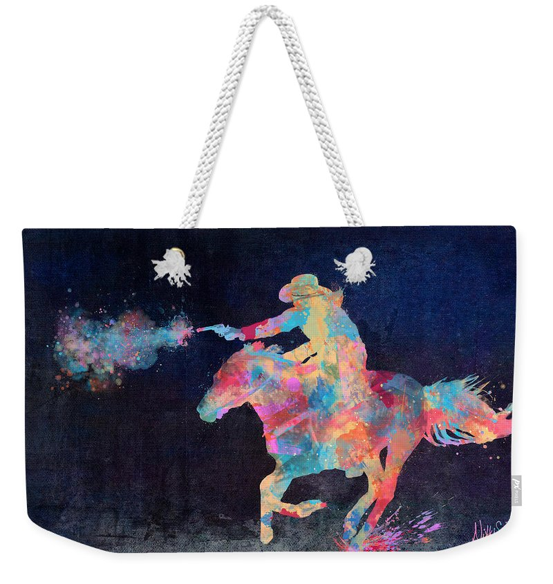 Cowgirl Weekender Tote Bag featuring the digital art Midnight Cowgirls Ride Heaven Help The Fool Who Did Her Wrong by Nikki Marie Smith