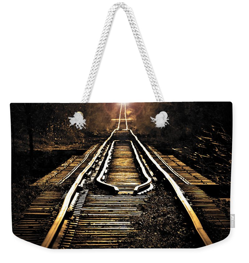 Trains Weekender Tote Bag featuring the photograph Midnight Crossing by Robert Geary