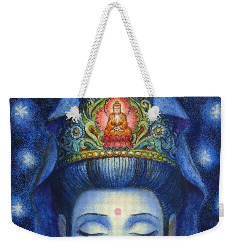 Kuan Yin Weekender Tote Bag featuring the painting Midnight Meditation Kuan Yin by Sue Halstenberg