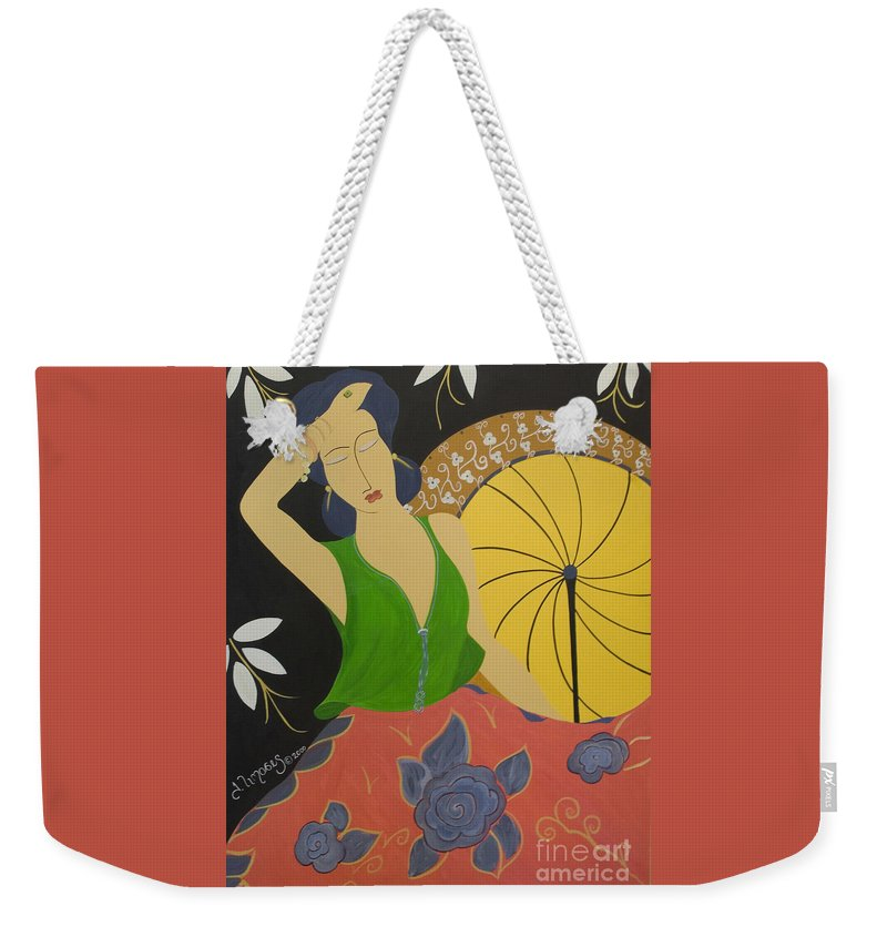 #female Weekender Tote Bag featuring the painting Midnight Sun by Jacquelinemari