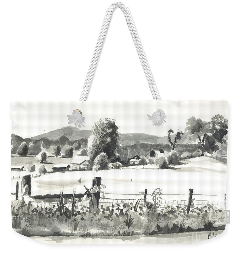 Midsummer View Out Route Jj  No I101 Weekender Tote Bag featuring the painting Midsummer View Out Route Jj  No I101 by Kip DeVore