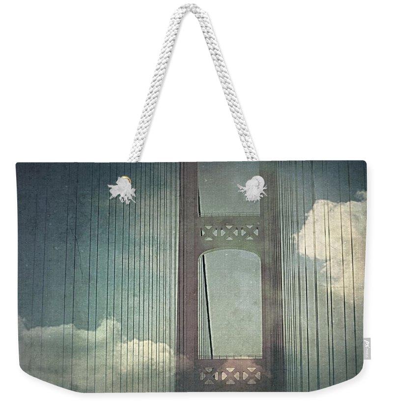Weekender Tote Bag featuring the photograph Michigans Mackinac Bridge by Marysue Ryan