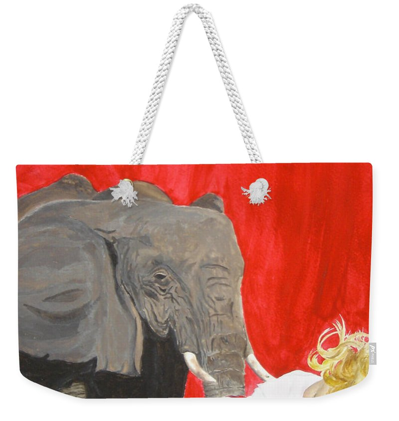 Elephant Weekender Tote Bag featuring the painting Mika And Elephant by Tamir Barkan