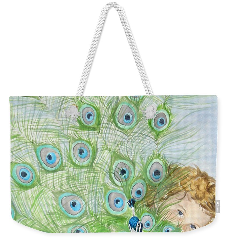 Peacock Weekender Tote Bag featuring the painting Mika And Peacock by Tamir Barkan