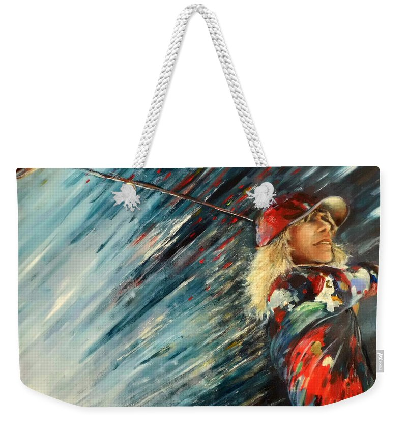 Sports Weekender Tote Bag featuring the painting Miki Self Portrait With Driver by Miki De Goodaboom