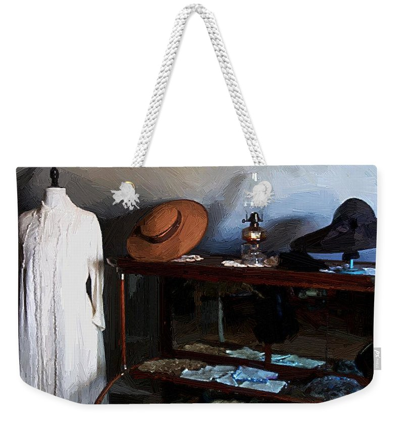 Fashion Weekender Tote Bag featuring the painting Milady's Finery by RC DeWinter