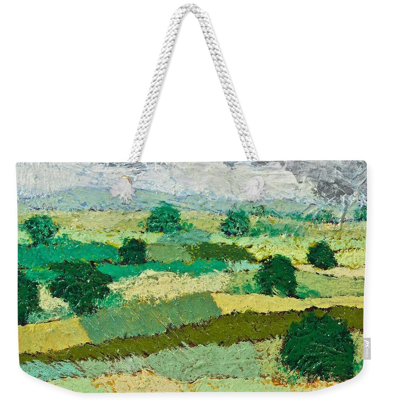 Landscape Weekender Tote Bag featuring the painting Mild Valley by Allan P Friedlander