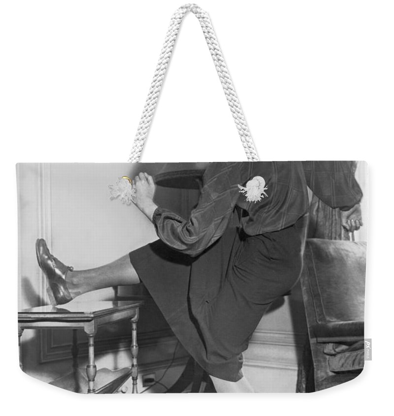 1 Person Weekender Tote Bag featuring the photograph Mildred babe Didrikson by Underwood Archives