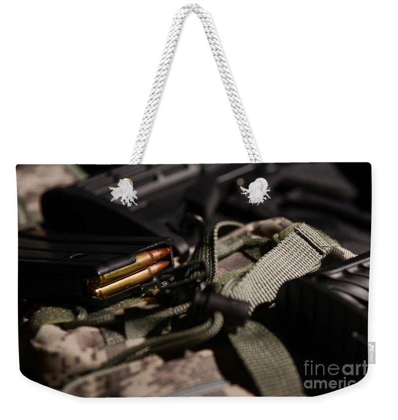 Gun Weekender Tote Bag featuring the photograph Military Pile by Jt PhotoDesign