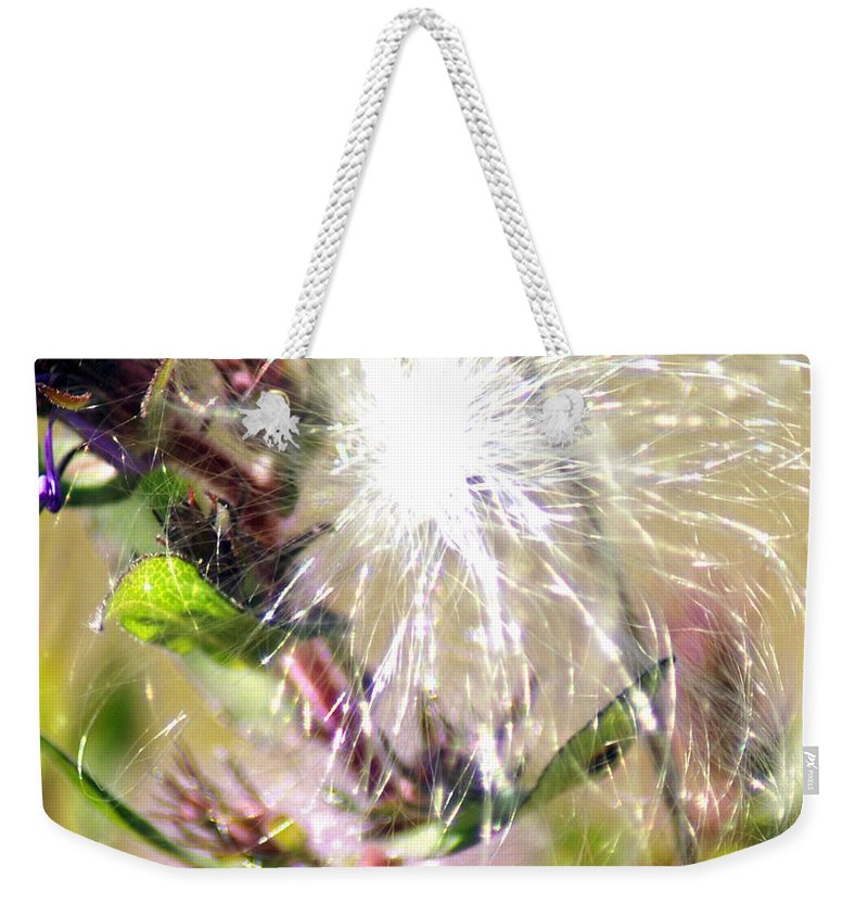 Cotton Weekender Tote Bag featuring the photograph Milkweed Cotton by Optical Playground By MP Ray