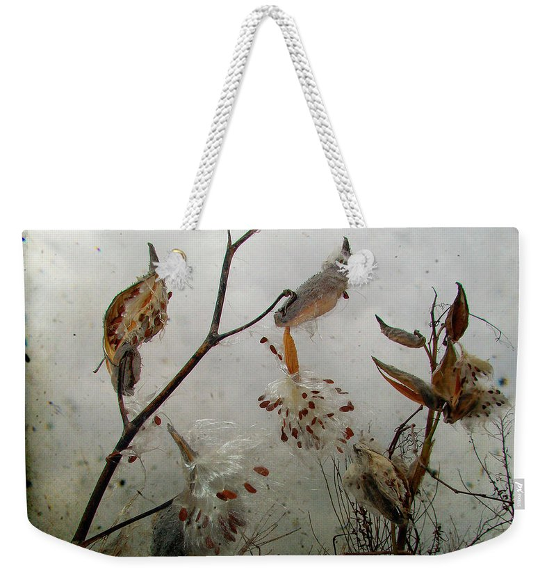 Milkweed Weekender Tote Bag featuring the photograph Milky Milkweed by Gothicrow Images