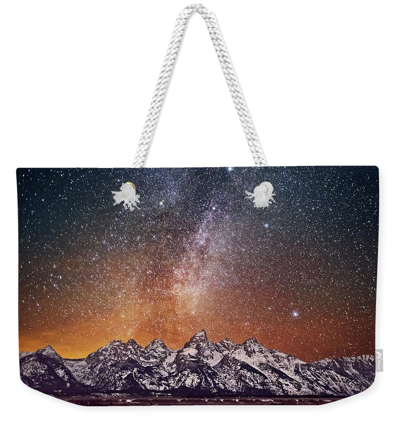 Tranquility Weekender Tote Bag featuring the photograph Milky Way Over Grand Teton by Chen Su