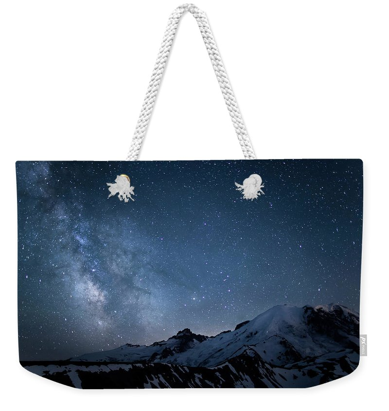 Scenics Weekender Tote Bag featuring the photograph Milky Way Over Mount Rainier by Ed Leckert