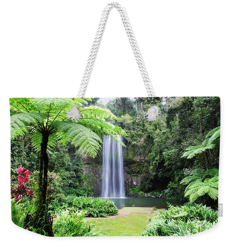 Waterfalls Weekender Tote Bag featuring the photograph Millaa Millaa Falls by Linda Lees