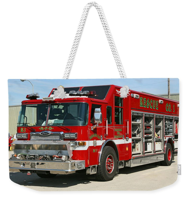 Fire Department Weekender Tote Bag featuring the photograph Milwaukee Fire Dept. Rescue 1 by Susan McMenamin