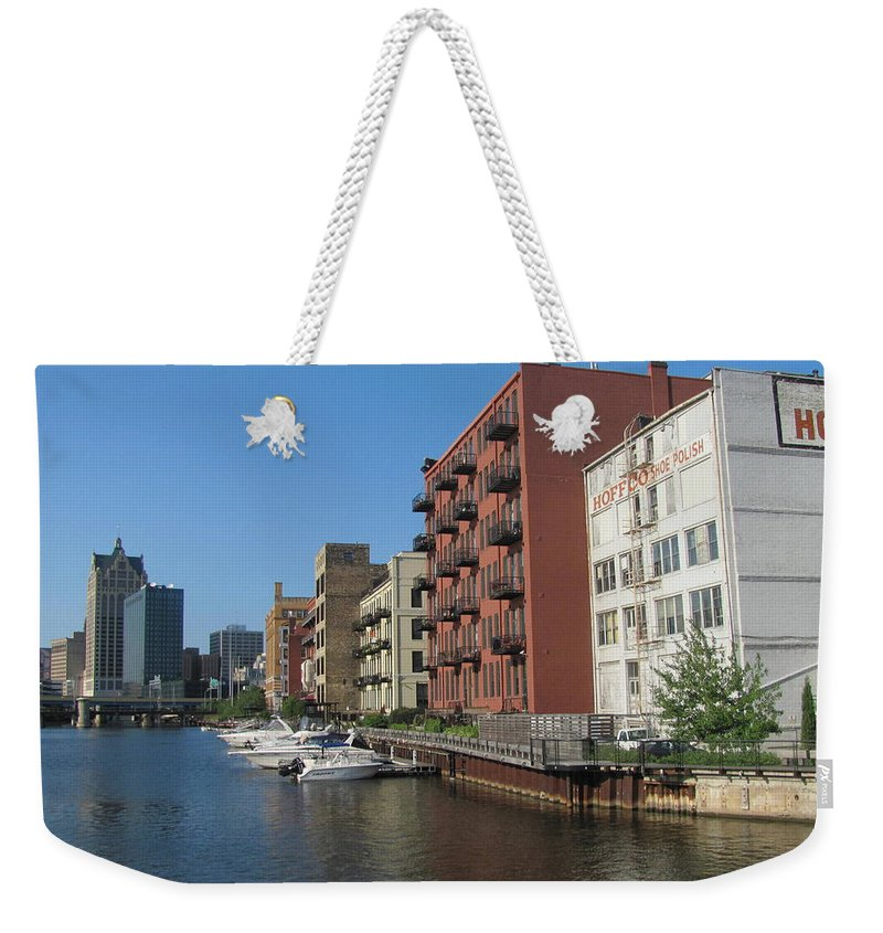 Milwaukee Weekender Tote Bag featuring the photograph Milwaukee River Architechture 1 by Anita Burgermeister