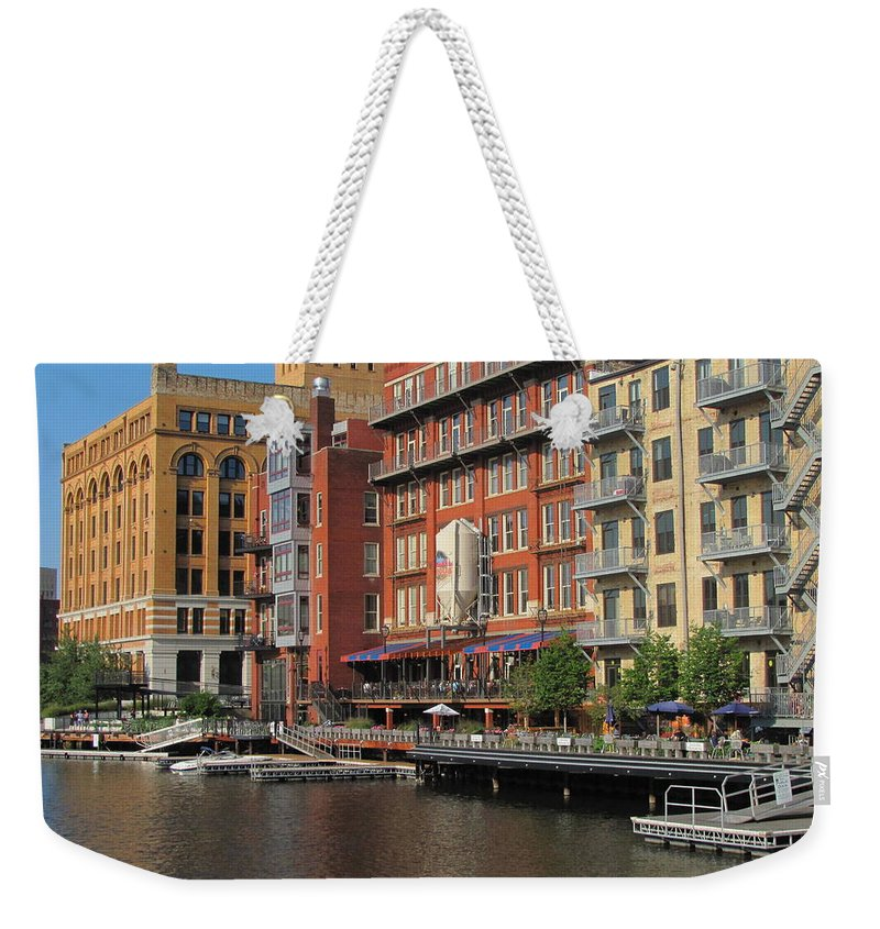 Milwaukee Weekender Tote Bag featuring the photograph Milwaukee River Architecture 4 by Anita Burgermeister