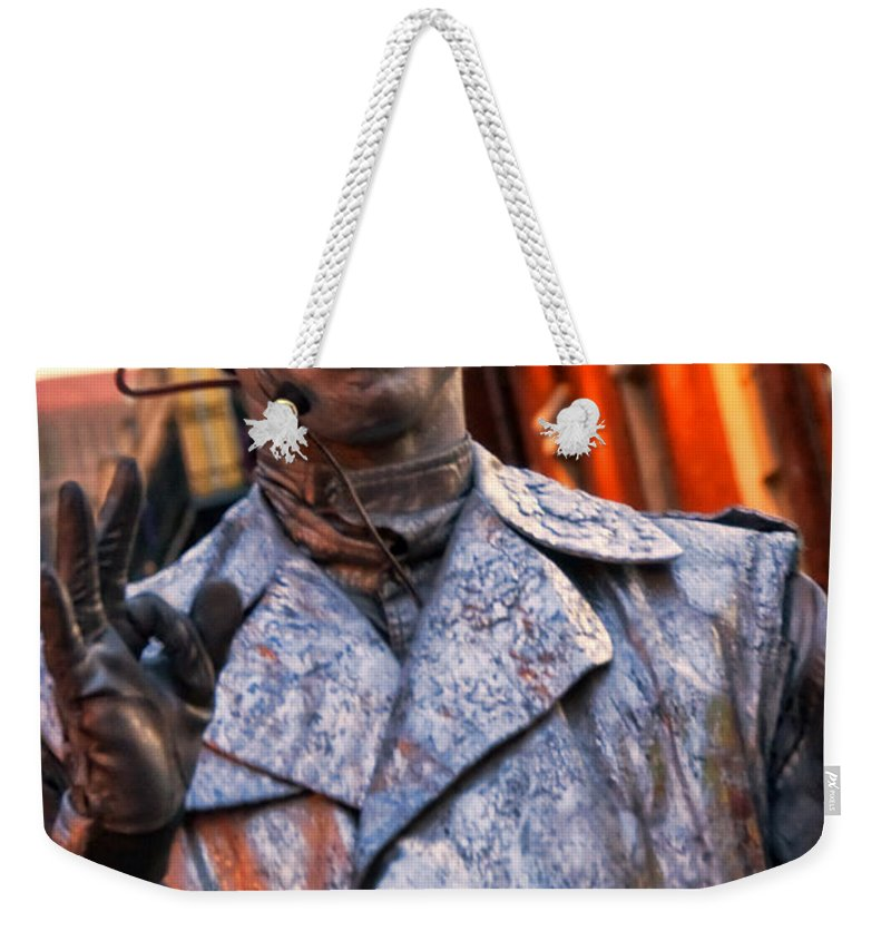 Street Photography Weekender Tote Bag featuring the photograph Mime In Silver On Bourbon St. by Kathleen K Parker