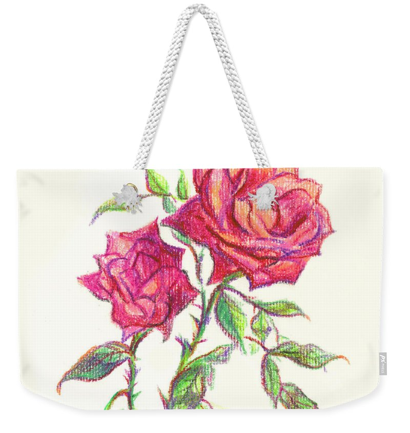Nature Weekender Tote Bag featuring the painting Minature Red Rose by Kip DeVore