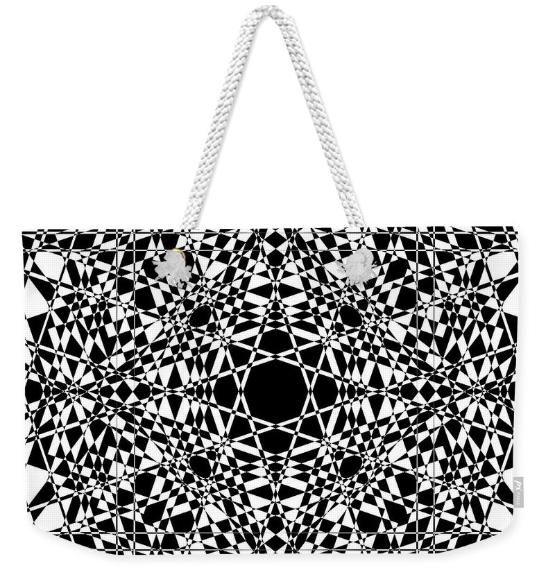Abstract Weekender Tote Bag featuring the digital art B W Sq 3 by Mike McGlothlen