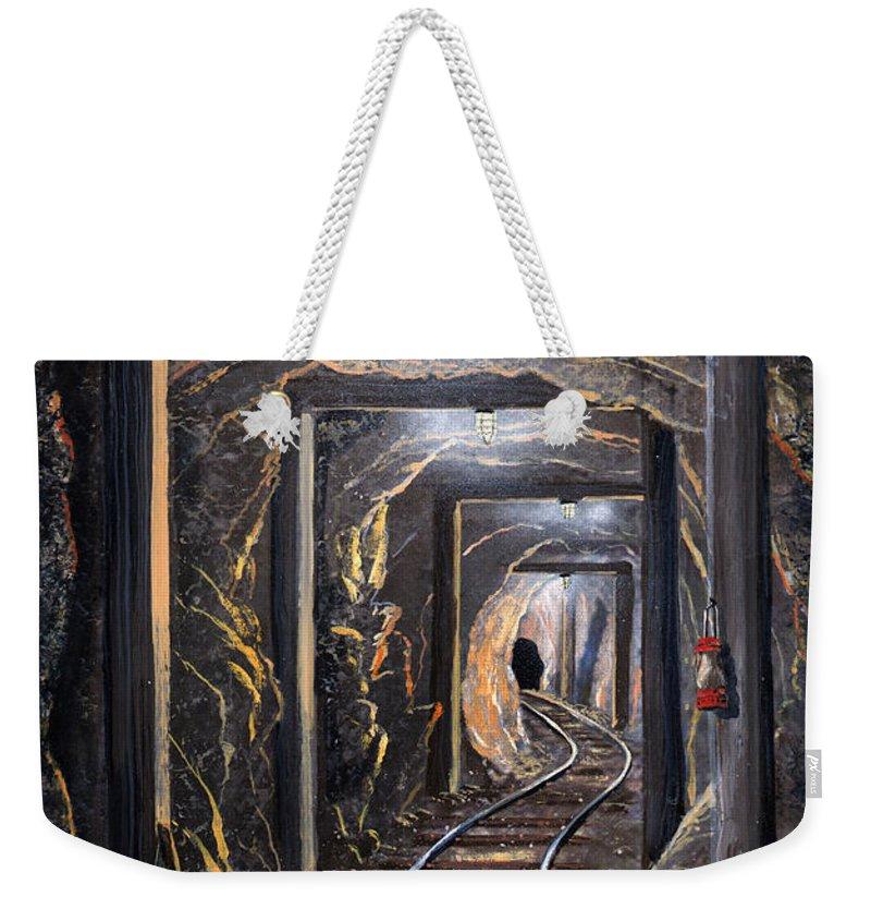 Mural Weekender Tote Bag featuring the painting Mine Shaft Mural by Frank Wilson
