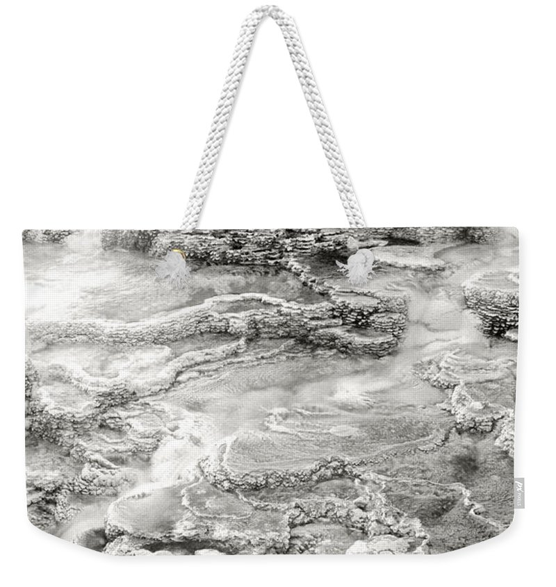 America Weekender Tote Bag featuring the photograph Minerva Springs In Black And White Yellowstone National Park Wyoming by Dave Welling