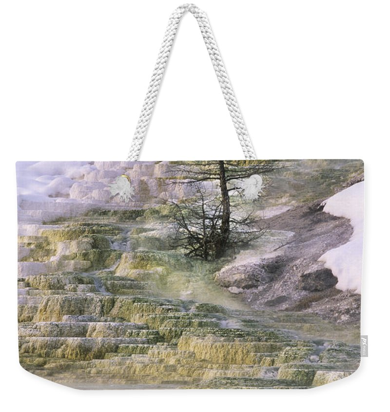 North America Weekender Tote Bag featuring the photograph Minerva Springs Terraces Yellowstone National Park by Dave Welling