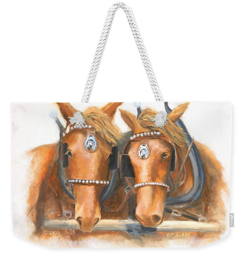 Horse Weekender Tote Bag featuring the painting Mini And Jake by Jerry McElroy
