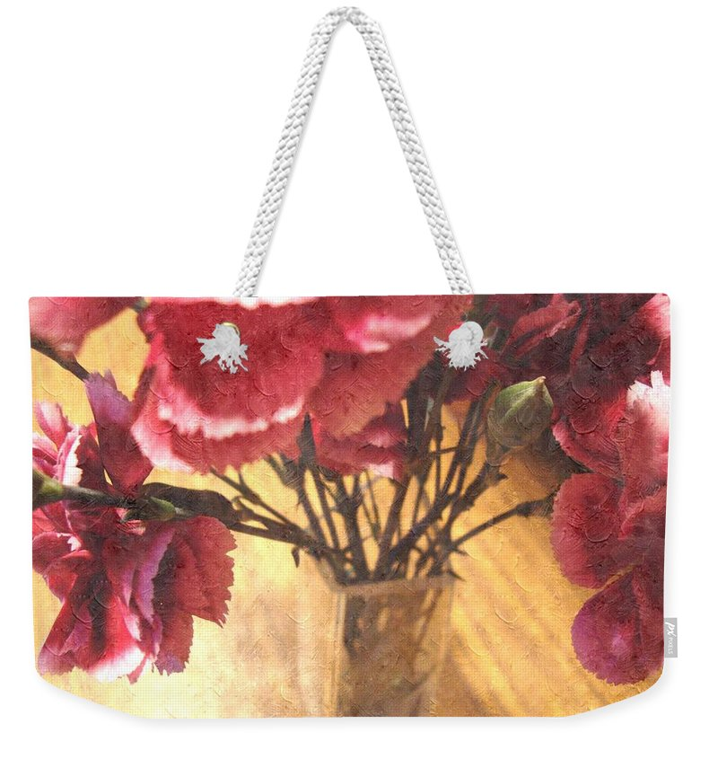 Mini Carnations Weekender Tote Bag featuring the photograph Mini Carnation Bouquet by Annie Adkins