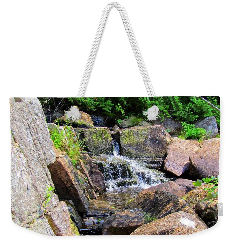Water Fall Weekender Tote Bag featuring the photograph Mini Water Fall by Elizabeth Dow