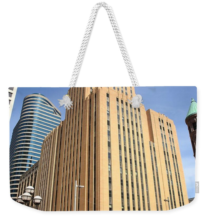America Weekender Tote Bag featuring the photograph Minneapolis Skyscrapers by Frank Romeo