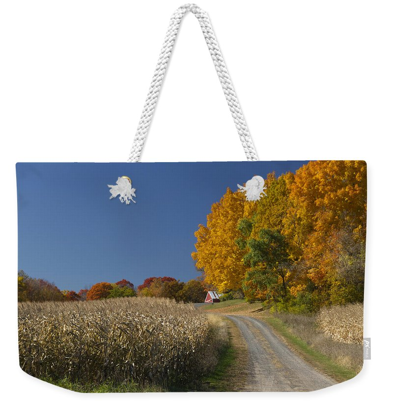 St Croix Weekender Tote Bag featuring the photograph Minnesota Autumn Road by Garry McMichael