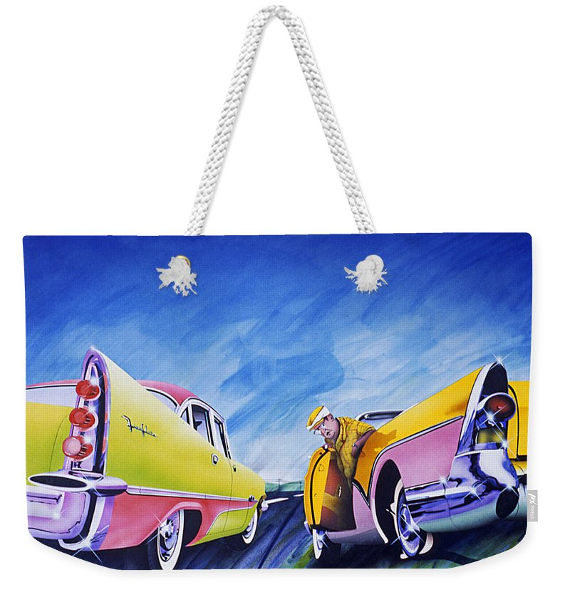 Fifties Automobiles Weekender Tote Bag featuring the painting Minnesota Flat by Charles Stuart