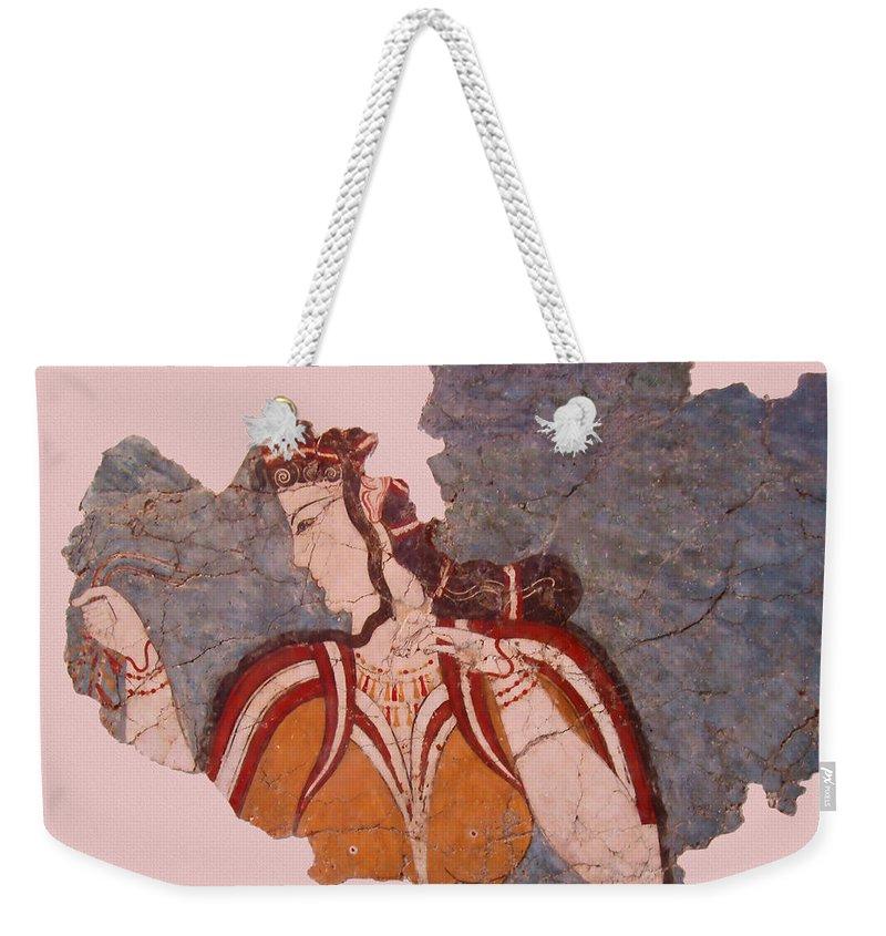 Minoan Wall Painting Weekender Tote Bag featuring the photograph Minoan Wall Painting by Ellen Henneke