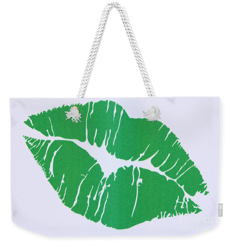 Mint Green Kiss Weekender Tote Bag featuring the photograph Mint Green Kiss by Nina Prommer