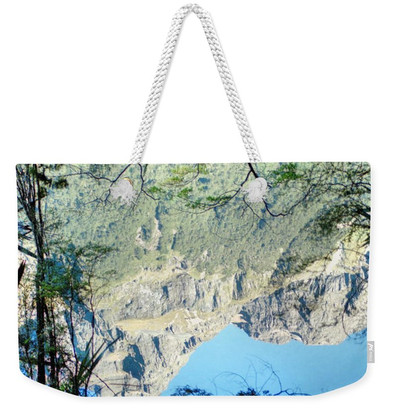 South Island Weekender Tote Bag featuring the photograph Mirror Lake Three New Zealand by Carole-Anne Fooks
