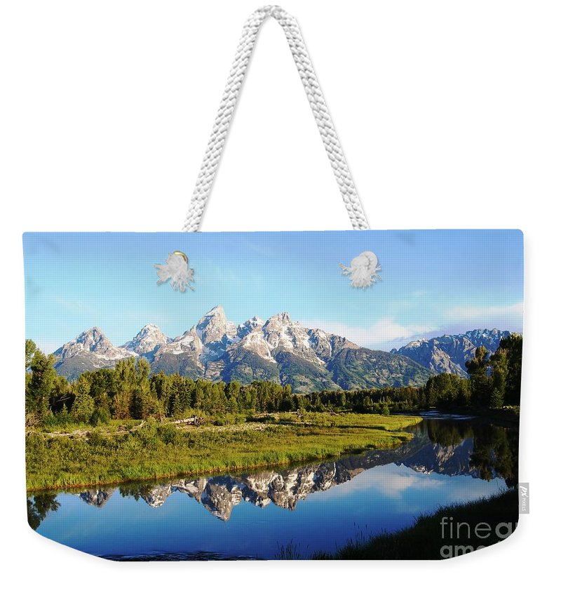 Waterscape Weekender Tote Bag featuring the photograph Mirrored Beauty by Deanna Cagle