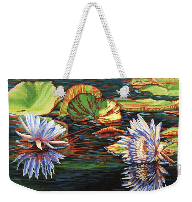 Lily Lilies Water Pond Pad Flower Flowers Floral Lake Weekender Tote Bag featuring the painting Mirrored Lilies by Jane Girardot